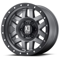 "XD Series 17"" Jeep Wrangler JK JL XD128 Machete 17x9 -12mm Matte Grey W/Black Ring"