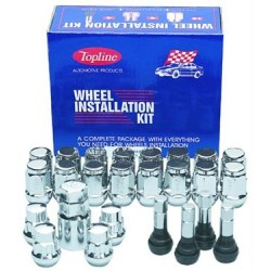 Topline 6 Lug Kit 14 X 1.5  60 Degree Conical (Includes 24 Lug Nuts/ 1 Wheel Lug Key) 4 Chrome Valve Stems
