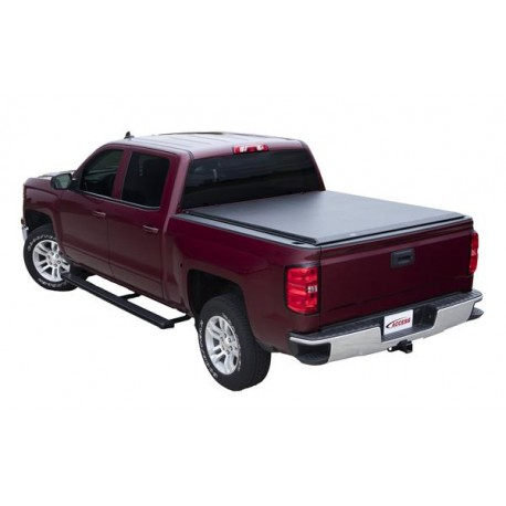 Acces Cover Tonneau Cover Soft Roll-Up Velcro Lockable Using Tailgate Handle Lock Black Vinyl 8' Ford F150 2004-2014