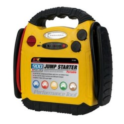 Battery Portable Jump Starter 900 Peak Amps/ 400 Cold Cranking Amps With Two 12 Volt DC Outlets