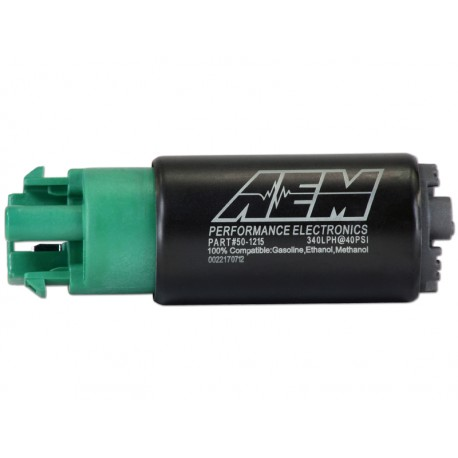 AEM 340lph E85-Compatible High Flow In-Tank Fuel Pump 65mm with hooks, Offset Inlet