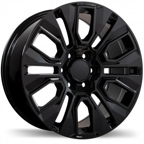 """20"""" Replika Wheel Set Silverado Sierra Tahoe Yukon 20x9 +24mm Gloss Black"""