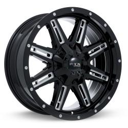 """18"""" RTX Ravine Wheel Set Ford F250 F350 18x9 +15mm 8x170 Gloss Black Milled"""