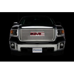 GMC Sierra 1500 2014-2015 Grille Insert Overlay Punch Style With Emblem Cutout, Polished Stainless Steel